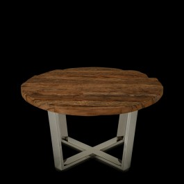 Buy Lima Rustic Wood Stainless Steel Round Coffee Table Small Online In India