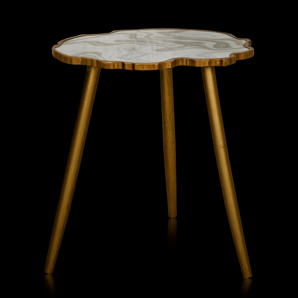 Marfil Off White & Gold Glass & Fibre Side Table
