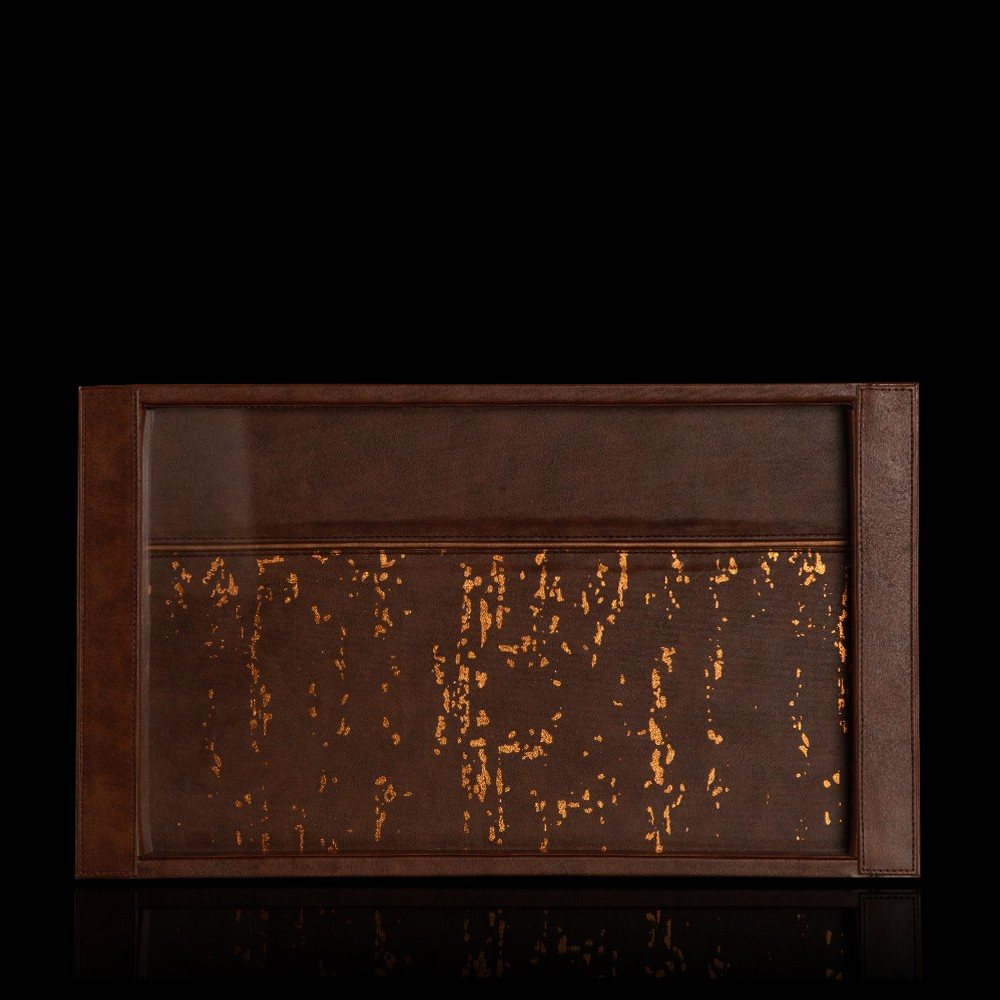 Thar Gold Foiled Brown Faux Leather Serving Tray
