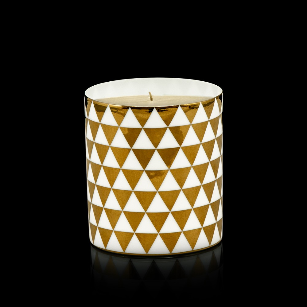 Tessellate White & Gold Porcelain Votive