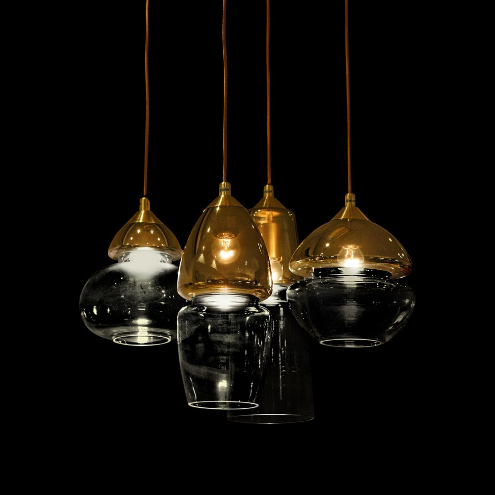 Tiffany Gold Brass & Glass LED Pendant Lamp