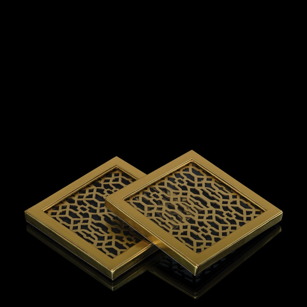 Izmit Gold & Silver Reversible Faux Leather Coaster