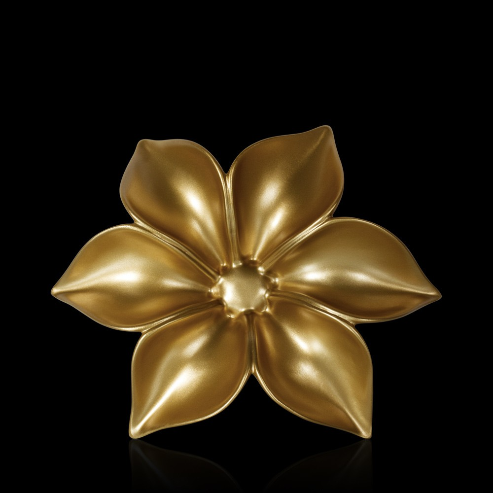 Buy fleur large gold ceramic wall art online in india for Ceramic wall art