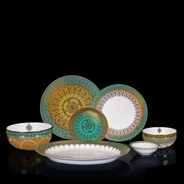 Mersin Blue & White Gold-Lined Dinner Set For 6