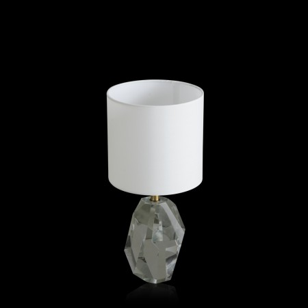 Asscher Off-White Crystal & Fabric Table Lamp