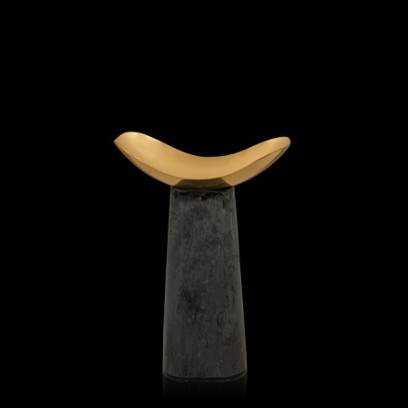 Chichi Grey & Gold Resin Candleholder Small
